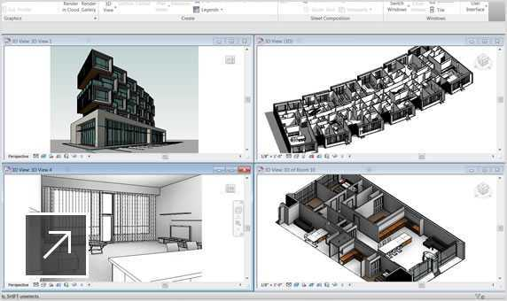 3D views of the exterior, interior, and a single room in a building