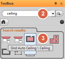 Search results in the Toolbox