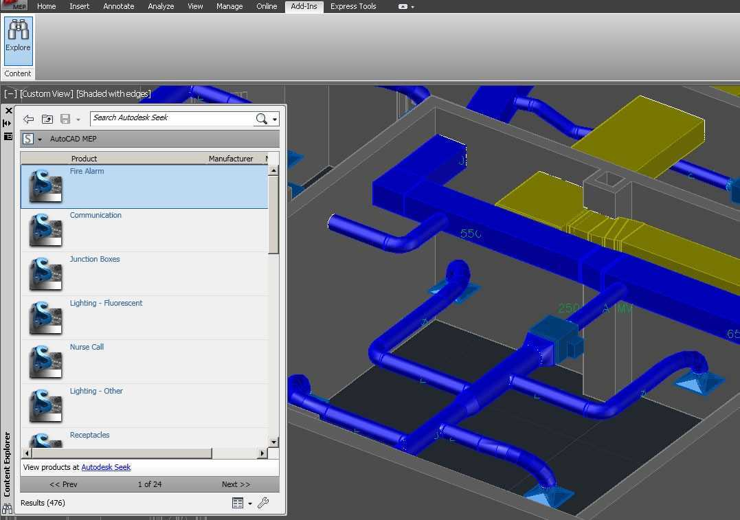 Use AutoCAD Content Explorer to quickly search for design files, objects,  and content
