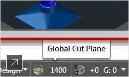 The Application status bar now includes the Display Configuration and Cut Plane tools