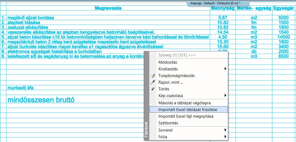 Excel táblázat módosítása